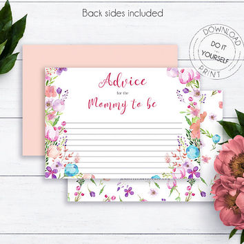 Vintage Floral Shower Advice Cards, Baby Shower, Baby Girly, Watercolor Printable Baby Advice Cards, Advice for Mommy to be, Parent Advice