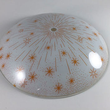 Vintage Starburst Atomic Mid Century Light Fixture Retro Ceiling Light Round Glass Cover With Yellow Gold StarbShade Home Decor