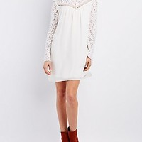 FLORAL LACE YOKE SHIFT DRESS