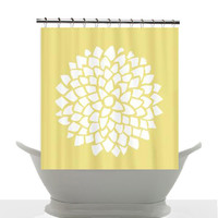 Artistic Shower Curtain - Yellow Dahlia - Minimalist yellow and white floral art, decor, bathroom