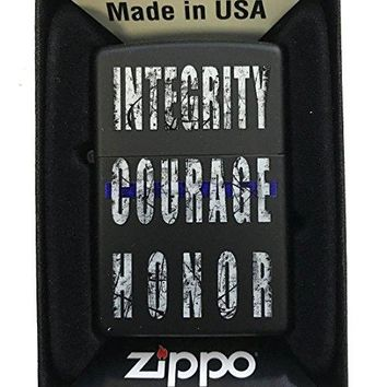 "Zippo Custom Lighter - ""Integrity, Courage, Honor"" Blue Line Police Support - Black Matte"