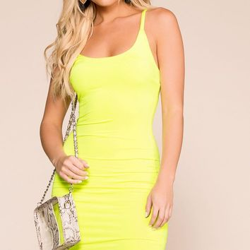 Flashing Lights Neon Lime Bodycon Dress