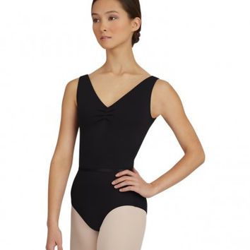 V Neck Pinched Front Leotard (Black)