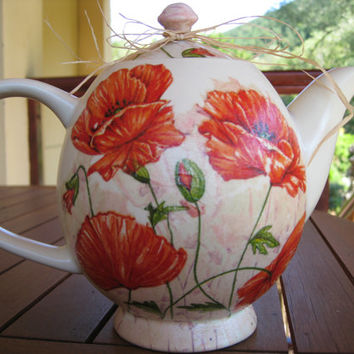 Big Ceramic Teapot,Orange Poppies Paper Napkin,Colorful Poppy Flowers,Spring Summer Decor,Tea Party Decoration,Handmade Decoupaged Gift