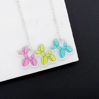 Balloon Dog Necklace Colorful Pendant in Pink, Yellow and Blue