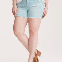 Torrid Skinny Short Shorts - Light Blue Wash with Destruction