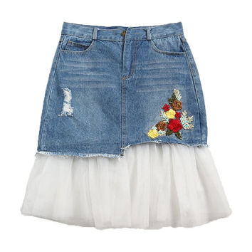 Jupe Jean Skirts Womens 2017 Summer Floral Embroidery Mesh Stitching Tulle Denim Skirt High Waist Midi Pencil Skirt Faldas C3241