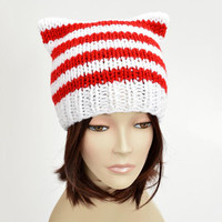 Christmas Cat Hat Christmas Hat Candy Cane Hat Christmas Beanie Knit Striped Hat Striped Santa Hat with Cat Ears Christmas Outfit Cat Beanie