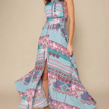 Floral Halterneck Split-front Backless Maxi Dresses