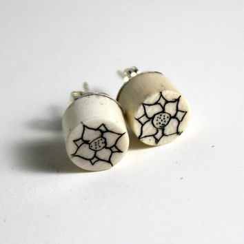 Zen Black Ink Scrimshaw-- Lotus Mandala Drawing Earrings-- Mammoth Ivory Earrings