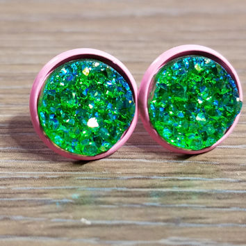Druzy earrings- Deep Green drusy - Pink stud druzy earrings