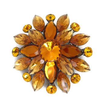 Orange Rhinestone Brooch, Vintage Plastic Flower Retro Pin, Gift for Her, FREE SHIPPING