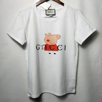 """Gucci"" Women Casual Fashion Cute Letter Cartoon Pattern Print Short Sleeve T-shirt Top Tee"