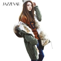New Fashion women's army green Large raccoon fur collar hooded long coat parkas outwear rabbit fur lining winter jacket