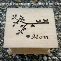 Music box for Mom - Mother's day gift - Custom music box with a tree branch and 2 birds engraved to the top, choose your color and song