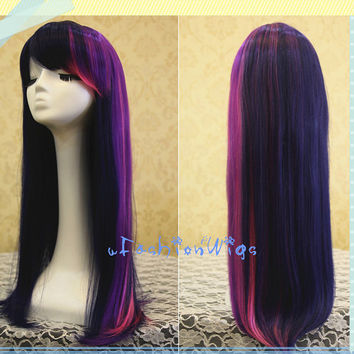My Little Pony Twilight Sparkle Cosplay Wig, Long Purple with Hot Pink Highlight Friendship Is Magic Costume Anime Party Wigs 091