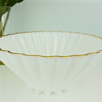 Vintage Large Decorative Bowl Milk Glass Gold Scalloped Edge, Fire King Anchor Hocking Rachael Bowl, White and Gold Decor, Beach Nautical