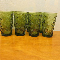 SET OF EIGHT VINTAGE ANCHOR HOCKING ICE DESIGN SMALL JUICE GLASSES EXCELLENT CONDITION