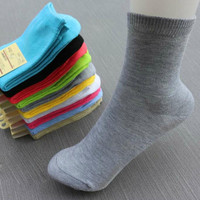 5pcs HQ Candy color Women Ladies Girls Middle Tube Cotton Socks Solid Casual Fashion Simple design warm