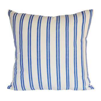 handwoven french blue double stripe pillow