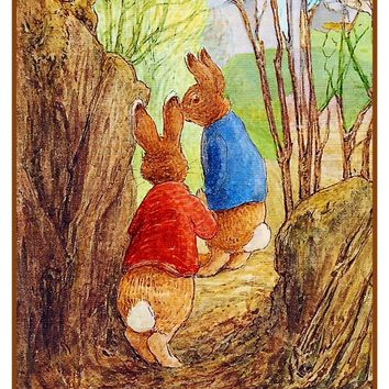 Peter Rabbit Ben Hide in Woods inspired by Beatrix Potter Counted Cross Stitch Pattern