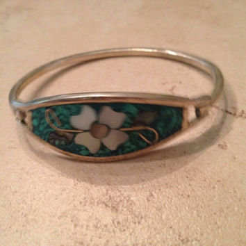 Vintage Alpaca Silver Bracelet Green Flower Mexican Jewelry Mexico