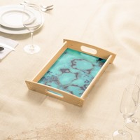 Cool trendy turquoise marble stone design serving tray