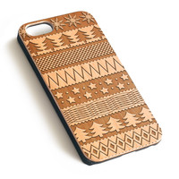 Christmas pattern Natural wood handmade precise laser engraved iPhone 7 6 6S Plus case WA003