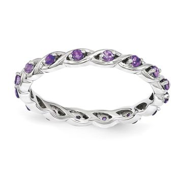 Sterling Silver Stackable Expressions Amethyst Twist Eternity Ring