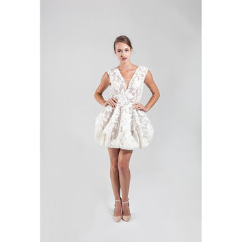 NARCES Fabulous White Charlie Occasion Dress with Open Back