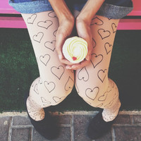 Printed Heart Tights / stocking / Tattoo Tights / Full Length Tights /  Winter Accessories / High Quality / Free Shipping