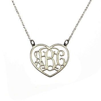 "Mothers day  gift - 1"" Cutout Heart Shaped  925 Sterling Silver Monogram Necklace With 2 Loops - Personalized Monogram Necklace"