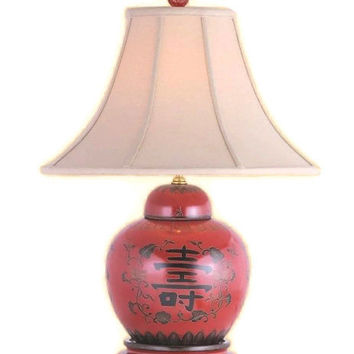 """Beautiful Chinese Red Lacquer Jar Table Lamp w Shade and Finial 21"""""""