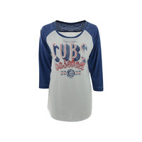 Chicago Cubs MLB Women's Burnout Raglan T-Shirt