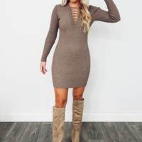 Cozy Cutie Dress: Mocha