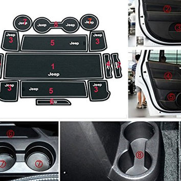 Cup Holder Mat, Moonet Heavy Duty Non-Slip Interior Door Mats Fit 2011 2012 2012 2014 2015 2016 Jeep Compass Patriot 15pcs White with luminous Glow in the Dark