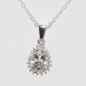 "Sterling Silver Diamond (.1ct) and White Topaz Teardrop Necklace, 18"" chain"