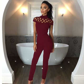 2016 New Sexy Women Autumn Bodycon Jumpsuit Overalls Casual Jumpsuit Women Skinny Sexy Club Long Jumpsuits Playsuit