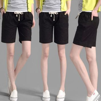 Hot Shorts Youth Casual Women Hot Short Feminina Fashion Candy Color Casual  Elastic Waist Women's Linen Collapse AT_43_3