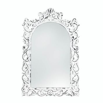 Wooden Distressed White Ornate Wall Mirror