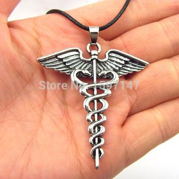 Percy Jackson Angle Wings Magic Wand Caduceus Pendant Necklace Movies Jewelry