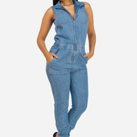 Denim Blue Collared Jumpsuit