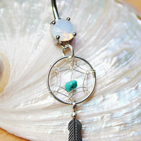 Sterling Silver Petite Dream Catcher Turquoise Feather Belly Ring