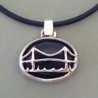Mackinac Bridge Necklace Black Onyx Necklace by Silver Loon