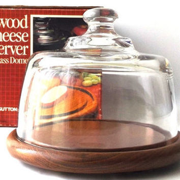 vintage 80s glass cloche display dome cheese server food cover teak wood base tray decorative home decor serving entertaining original box
