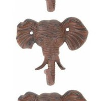 Elephant Cast Iron Wall Hooks - Set of 3 - Antique Brown - Hangers for Coats, Aprons, Hats, Towels, Pot Holders, More
