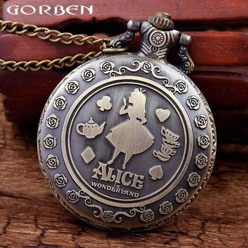ALICE IN WONDERLAND theme copper pocket watch beautiful girl lovely present for ladies necklace quartz watch with chain P14