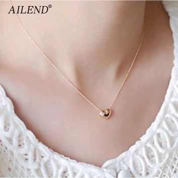 AILEND New design Simple Fashion jewelry women short accessories Elegant Lovely Gold Heart Shaped pendant necklace girl gift
