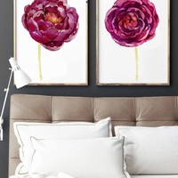 WATERCOLOR FLOWER Wall Art, Watercolor Floral Bedroom Wall Decor, Maroon Floral Minimalist Artwork Set of 2 Floral Canvas or Prints Pictures