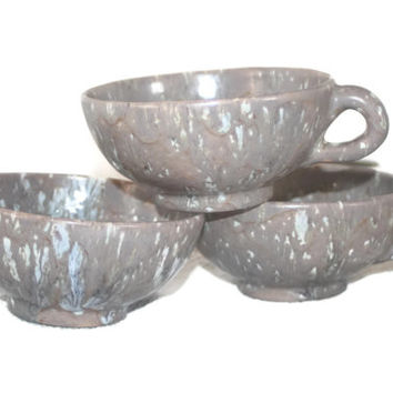 Christmas Sale Vintage Set Of Glazed Pottery Cups